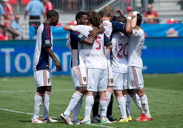 29 June 2013: Real Salt Lake celebrates the win during an MLS game between Real Salt Lake and Toronto FC at BMO Field in Toronto, Ontario Canada.<br /> Real Salt Lake won 1-0.