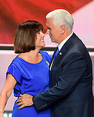Governor Mike Pence (Republican of Indiana), the GOP nominee for Vice President of the United States and his wife Karen after he delivered his acceptance speech at the 2016 Republican National Convention held at the Quicken Loans Arena in Cleveland, Ohio on Wednesday, July 20, 2016.<br /> Credit: Ron Sachs / CNP<br /> (RESTRICTION: NO New York or New Jersey Newspapers or newspapers within a 75 mile radius of New York City)