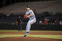 Salt River Rafters relief pitcher Griffin Jax (22), of the Minnesota Twins organization, delivers a pitch during an Arizona Fall League game against the Scottsdale Scorpions at Scottsdale Stadium on October 12, 2018 in Scottsdale, Arizona. Scottsdale defeated Salt River 6-2. (Zachary Lucy/Four Seam Images)