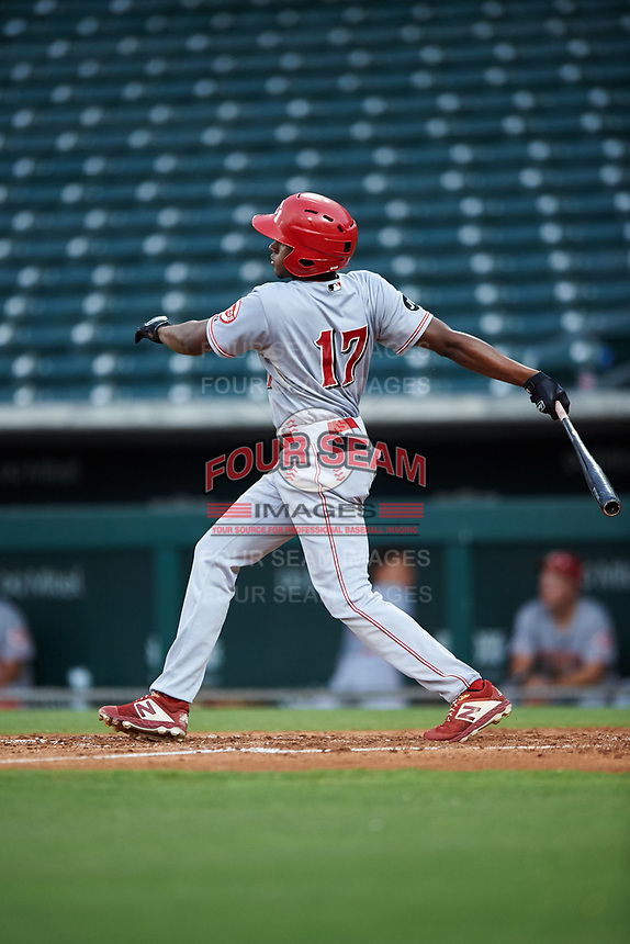 AZL Reds Fidel Castro (17) at bat during an Arizona League game against the AZL Cubs 2 on July 23, 2019 at Sloan Park in Mesa, Arizona. AZL Cubs 2 defeated the AZL Reds 5-3. (Zachary Lucy/Four Seam Images)