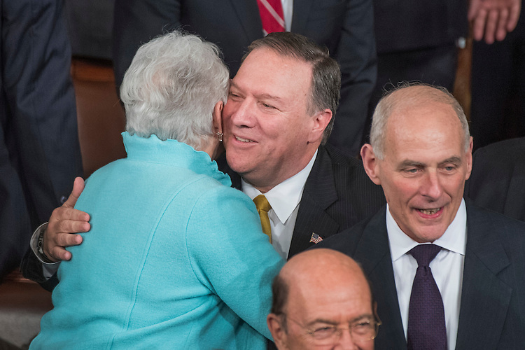 UNITED STATES - FEBRUARY 28: CIA Director Mike Pompeo hugs Rep. Virginia Foxx, R-N.C., in the House Chamber before President Donald Trump addressed a joint session of Congress in the Capitol, February 28, 2017. (Photo By Tom Williams/CQ Roll Call)