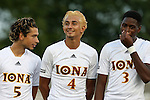 05 September 2015: Iona's Luis Mendoza (5), Joshua Calderon (4), and Jonathan Proctor (3). The Duke University Blue Devils hosted the Iona University Gaels at Koskinen Stadium in Durham, NC in a 2015 NCAA Division I Men's Soccer match. Duke won the game 2-1.