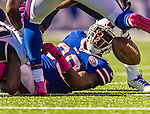 12 October 2014: Buffalo Bills running back C.J. Spiller fumbles in the 2nd quarter with a recovery by New England Patriots defensive end Zach Moore at Ralph Wilson Stadium in Orchard Park, NY. The Patriots defeated the Bills 37-22 to move into first place in the AFC Eastern Division. Mandatory Credit: Ed Wolfstein Photo *** RAW (NEF) Image File Available ***