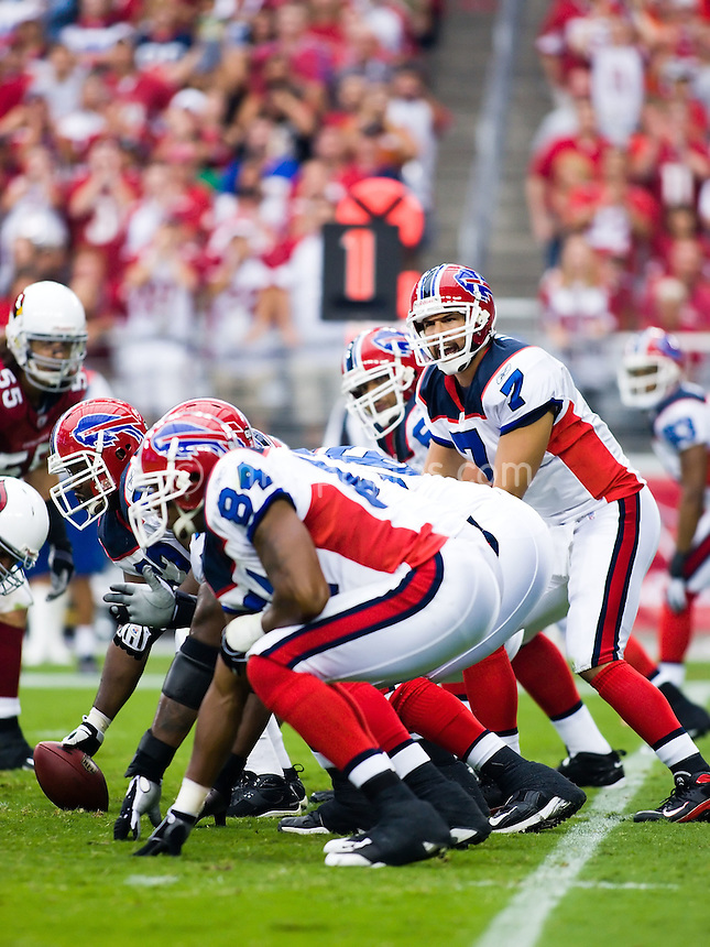 Oct 5, 2008; Glendale, AZ, USA; Buffalo Bills quarterback J.P. Losman (7) stands under center awaiting the snap during a game against the Arizona Cardinals at University of Phoenix Stadium.  The Cardinals defeated the Bills 41-17.