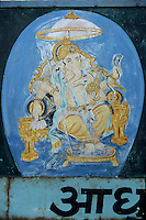 Asie/Inde/Rajasthan/Udaipur: Marché Bara Bazar - Détail peinture murale représentant Ganesh dieu de la prospérité