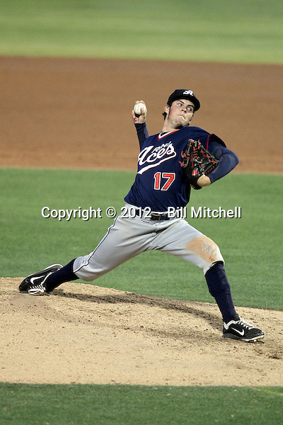 Trevor Bauer pitches for the Reno Aces against the Tucson Padres at Kino Stadium on June 8, 2012 in Tucson, Arizona. Bauer, Arizona Diamondbacks' 2011 first round draft choice, pitched seven scoreless innings and earned the win in a Reno 4-0 vcitory (Bill Mitchell)