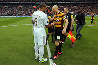Pictured: Ashley Williams (L) and Gary Jones (R). Sunday 24 February 2013<br /> Re: Capital One Cup football final, Swansea v Bradford at the Wembley Stadium in London.