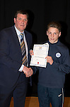 St Johnstone FC Academy Awards Night...06.04.15  Perth Concert Hall<br /> Tommy Wright presents a certificate to Jamie MacKenzie<br /> Picture by Graeme Hart.<br /> Copyright Perthshire Picture Agency<br /> Tel: 01738 623350  Mobile: 07990 594431