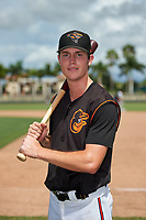 GCL Orioles Mason Janvrin (2) poses for a photo after a Gulf Coast League game against the GCL Braves on August 5, 2019 at Ed Smith Stadium in Sarasota, Florida.  GCL Orioles defeated the GCL Braves 4-3 in the second game of a doubleheader.  (Mike Janes/Four Seam Images)