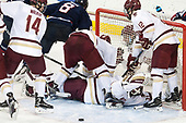 Zach Walker (BC - 14), Spencer Naas (UConn - 8), Michael Kim (BC - 4), Joe Woll (BC - 31), Mike Booth (BC - 12) - The Boston College Eagles defeated the visiting UConn Huskies 2-1 on Tuesday, January 24, 2017, at Kelley Rink in Conte Forum in Chestnut Hill, Massachusetts.