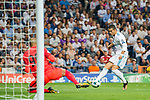 Cristiano Ronaldo of Real Madrid shoots and scores during the UEFA Champions League 2017-18 match between Real Madrid and APOEL FC at Estadio Santiago Bernabeu on 13 September 2017 in Madrid, Spain. Photo by Diego Gonzalez / Power Sport Images