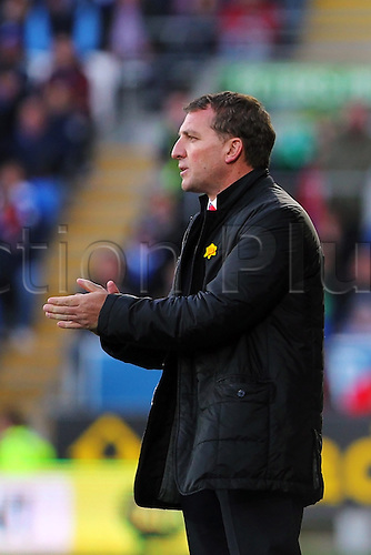 22.03.2014  Cardiff, Wales. Liverpool Manager Brendan Rodgers   in action during the Premier League game between Cardiff City and Liverpool from Cardiff City Stadium.