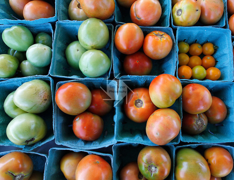 A wide variety of tomatoes for sale at the East St. Louis Farmer's Market outside the East Side Health District offices in East St. Louis at 20th and State Streets.