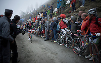 maglia rossa Giacomo Nizzolo (ITA/Trek Factory Racing) up the dirt roads of the Colle delle Finestre (2178m)<br /> <br /> Giro d'Italia 2015<br /> stage 20: Saint Vincent - Sestriere (199km)