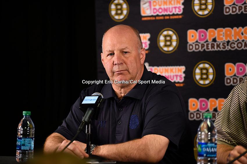 April 13, 2015 - Boston, Massachusetts, U.S. - Boston Bruins head coach Claude Julien speaks to the press at the Boston Bruins final season press conference held at TD Garden in Boston Massachusetts. Eric Canha/CSM