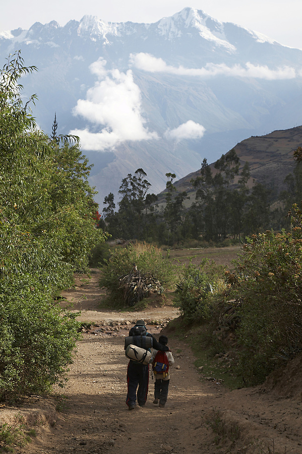Beginning of the Trek to the remote Incan ruins of Choquequirao in the village of Cachora, Apurimac, Peru.