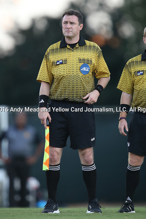 13 September 2016: Assistant Referee Ross McKernan. The University of North Carolina Tar Heels hosted the East Tennessee State University Buccaneers at Fetzer Field in Chapel Hill, North Carolina in a 2016 NCAA Division I Men's Soccer match. ETSU won the game 1-0 in sudden death overtime.