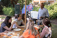 Rob Flot, Vice President for Student Affairs & Dean of Students. Matriculation Brunch Appointments for incoming first-years at the start of Occidental College's Fall Orientation for the class of 2021, Aug. 28, 2017. Students meet President Jonathan Veitch and other senior administrators in small groups over an informal meal in Mitchell Garden. They also add their wishes to the wishing tree.<br /> (Photo by Marc Campos, Occidental College Photographer)