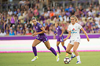 Orlando, FL - Saturday July 15, 2017: Alanna Kennedy, Brittany Ratcliffe during a regular season National Women's Soccer League (NWSL) match between the Orlando Pride and FC Kansas City at Orlando City Stadium.