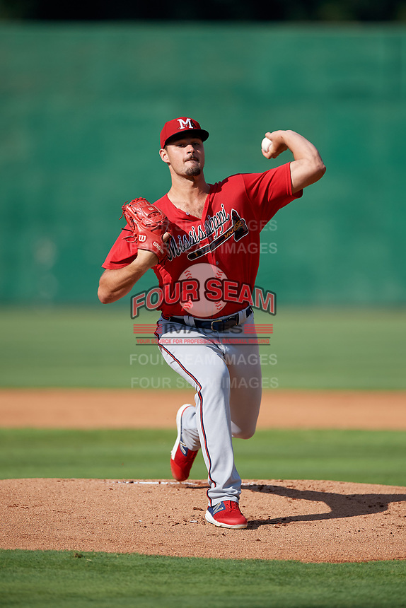 Mississippi Braves starting pitcher Kyle Muller (8) during a Southern League game against the Jackson Generals on July 23, 2019 at The Ballpark at Jackson in Jackson, Tennessee.  Jackson defeated Mississippi 2-0 in the first game of a doubleheader.  (Mike Janes/Four Seam Images)