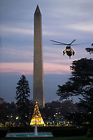 Marine One, with US President Donald J. Trump aboard, approaches a landing zone on the South Lawn of the White House  in Washington DC, USA, 02 December 2017. President Trump was returning from a fundraising trip to New York.<br /> Credit: Shawn Thew / Pool via CNP /MediaPunch