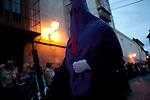 """Holy Week procession the Cofradia, """"the poor"""" Jesus of Nazareth, through the oldest streets of Madrid."""
