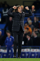 Chelsea Manager, Antonio Conte celebrates at the final whistle during Chelsea vs Manchester United, Premier League Football at Stamford Bridge on 5th November 2017