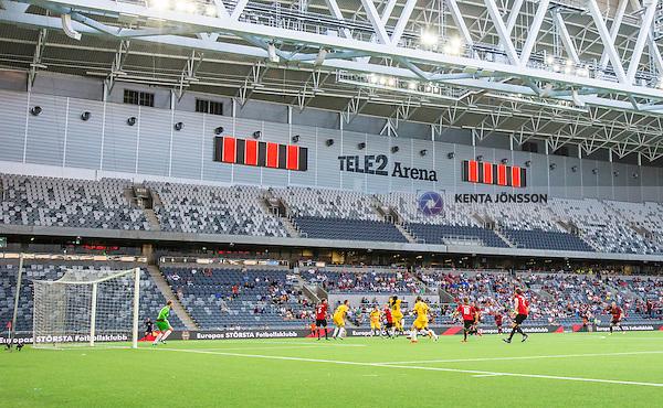 Stockholm 2014-07-10 Fotboll Europa League IF Brommapojkarna - VPS Vaasa :  <br /> Vy &ouml;ver Tele2 Arena under matchen mellan Brommapojkarna och VPS Vaasa<br /> (Foto: Kenta J&ouml;nsson) Nyckelord:  BP Brommapojkarna IFB Tele2 Arena VPS Vaasa  Vasa inomhus interi&ouml;r interior