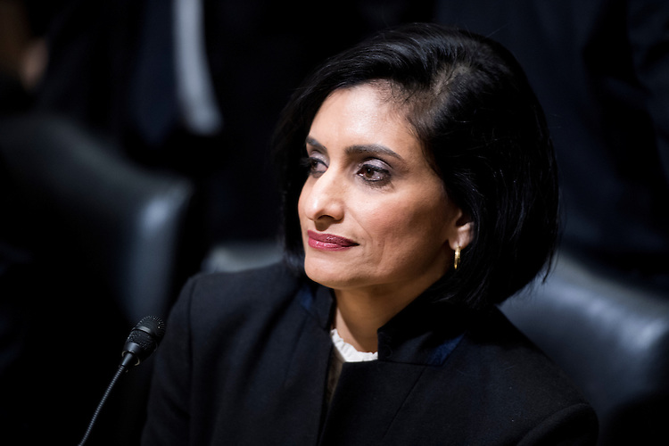 UNITED STATES - FEBRUARY 16: Seema Verma, Administrator of the Centers for Medicare and Medicaid Services nominee, takes her seat to testify during her confirmation hearing in the Senate Finance Committee on Thursday, Feb. 16, 2017. (Photo By Bill Clark/CQ Roll Call)