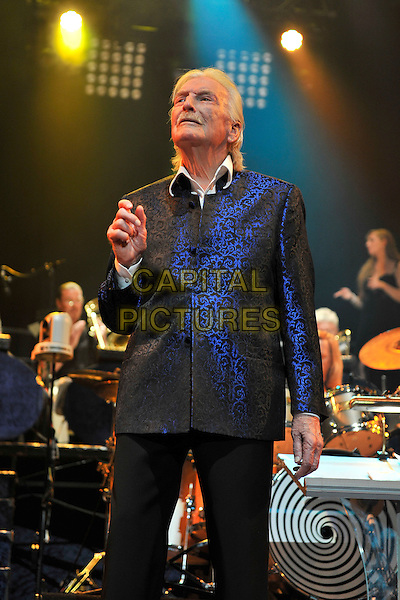 """JAMES """"HANSI"""" LAST.Performing live at the Royal Albert Hall, London, England..April 11th, 2011.stage concert live gig performance music half length blue jacket moustache mustache facial hair black  .CAP/MAR.© Martin Harris/Capital Pictures."""