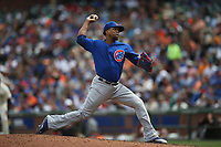 SAN FRANCISCO, CA - AUGUST 9:  Pedro Strop #46 of the Chicago Cubs pitches against the San Francisco Giants during the game at AT&T Park on Wednesday, August 9, 2017 in San Francisco, California. (Photo by Brad Mangin)