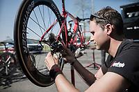 mechanic Glen Leven of Team trek-Segafredo at work<br /> <br /> Team Trek-Segafredo prep for Paris-Roubaix 2017 1 day before the race