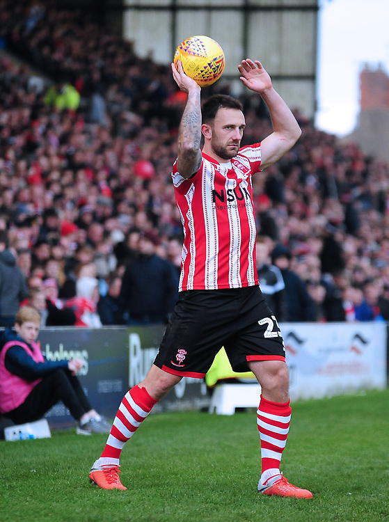 Lincoln City's Neal Eardley<br /> <br /> Photographer Andrew Vaughan/CameraSport<br /> <br /> The EFL Sky Bet League Two - Lincoln City v Mansfield Town - Saturday 24th November 2018 - Sincil Bank - Lincoln<br /> <br /> World Copyright © 2018 CameraSport. All rights reserved. 43 Linden Ave. Countesthorpe. Leicester. England. LE8 5PG - Tel: +44 (0) 116 277 4147 - admin@camerasport.com - www.camerasport.com