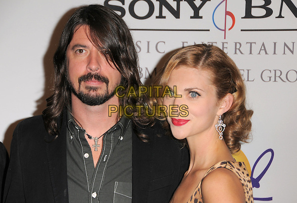 DAVE GROHL (FOO FIGHTERS) & JORDYN BLUM.The 2008 Clive Davis Pre-Grammy Party held at The Beverly Hilton Hotel in Beverly Hills, California, USA..February 9th, 2008     .headshot portrait beard facial hair red lipstick .CAP/DVS.©Debbie VanStory/Capital Pictures