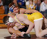 SPEARFISH, S.D. -- 165  Joe Brewster, top, of South Dakota State scrambles with Jace Jensen of the University of Wyoming during their 165 lb. match Sunday at the Young Center in Spearfish, S.D.  (Photo by Richard Carlson/Inertia via dakotapress.org)