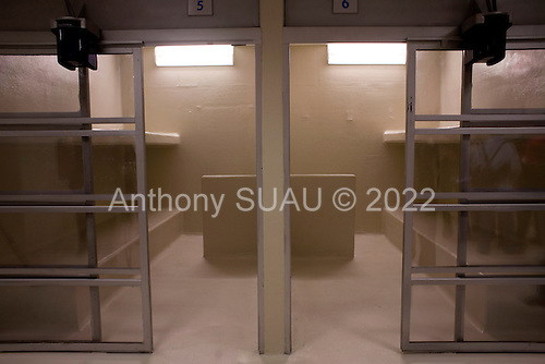 Mexico City, Mexico<br /> June 17, 2008<br /> <br /> Heavily enforced holding cells for at the new federal police center.