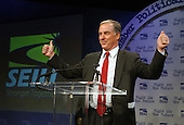 Former Governor Howard Dean (Democrat of Vermont), a candidate for the 2004 Democratic Presidential nomination, speaks at the Service Employees International Union 2003 Political Action Conference in Washington, DC on September 8, 2003.  Dean was seeking the union's endorsement for his candidacy for the Democratic nomination for President of the United States in 2004..Credit: Ron Sachs / CNP