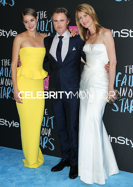 NEW YORK CITY, NY, USA - JUNE 02: Shailene Woodley, Sam Trammell, Laura Dern at the New York Premiere Of 'The Fault In Our Stars' held at Ziegfeld Theatre on June 2, 2014 in New York City, New York, United States. (Photo by Jeffery Duran/Celebrity Monitor)
