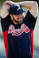 Evan Gattis #24 of the Atlanta Braves before a game against the Los Angeles Dodgers at Dodger Stadium on June 6, 2013 in Los Angeles, California. (Larry Goren/Four Seam Images)