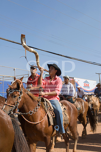 Pará State, Brazil. The town of Tucumã. Procession of ranchers and cowboys.