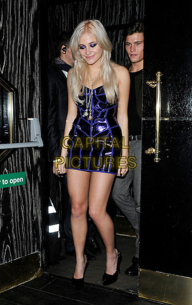 PIXIE LOTT (Victoria Louise Lott) .Attending the Michael Jackson Experience game launch at Whisky Mist, London, England, UK, .November 18th 2010..full length shiny blue purple mini dress black shoes strapless .CAP/CAN.©Can Nguyen/Capital Pictures.