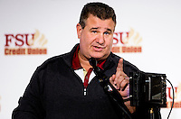 TALLAHASSEE, FLA. 2/6/13-FSUSIGNDAY020613 CH-Florida State University Defensive Ends Coach Sal Sunseri talks about the 2013 recruiting class during the national signing day War Party, Feb. 6, 2013 in Tallahassee..COLIN HACKLEY PHOTO