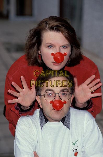 JENNIFER SAUNDERS  & TONY ROBINSON.Jennifer Saunders Archive.Ref: Phil Loftus.half length waving gesture hands palms red nose red noses.sales@capitalpictures.com.www.capitalpictures.com.©Capital Pictures.