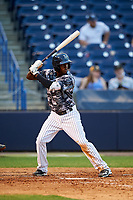 Tampa Yankees shortstop Jorge Mateo (14) at bat during a game against the Bradenton Marauders on April 15, 2017 at George M. Steinbrenner Field in Tampa, Florida.  Tampa defeated Bradenton 3-2.  (Mike Janes/Four Seam Images)