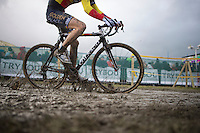 U23 Belgian Champion Jens Adams (BEL) rushing by<br /> <br /> 2014 Noordzeecross