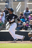 Louis Silverio (8) of the Kannapolis Intimidators follows through on his swing against the Delmarva Shorebirds at Kannapolis Intimidators Stadium on April 13, 2016 in Kannapolis, North Carolina.  The Intimidators defeated the Shorebirds 8-7.  (Brian Westerholt/Four Seam Images)
