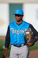 Tampa Tarpons Cesar Diaz (27) before a game against the Lakeland Flying Tigers on April 6, 2018 at Publix Field at Joker Marchant Stadium in Lakeland, Florida.  Lakeland defeated Tampa 6-5.  (Mike Janes/Four Seam Images)