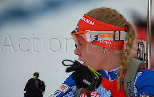 05.03.2016. Oslo Holmenkollen, Oslo, Norway. IBU Biathlon World Cup. Day One.  Sanna Markkanen of Finland competes in the Ladies 7.5km sprint competition during the IBU World Championships Biathlon in Holmenkollen Oslo, Norway.