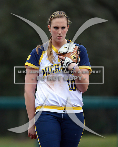 Michigan Wolverines pitcher Sara Driesenga (10) during the season opener against the Florida Gators on February 8, 2014 at the USF Softball Stadium in Tampa, Florida.  Florida defeated Michigan 9-4 in extra innings.  (Copyright Mike Janes Photography)