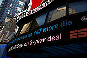 New York, New York<br /> March 18, 2020<br /> 10:30 AM<br /> <br /> Manhattan under coronavirus pandemic. <br /> <br /> Times Square ABC News banner.